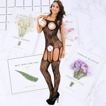 Female Black Body Stocking Sex Porn Lingerie Underwear Women Erotic Apparel Sexy Hot Open Crotch romper stocking