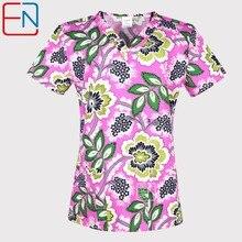 Hennar הדפסת נשים לשפשף חולצות קצר שרוול מדים לשפשף עם V צוואר פרחוני עיצוב