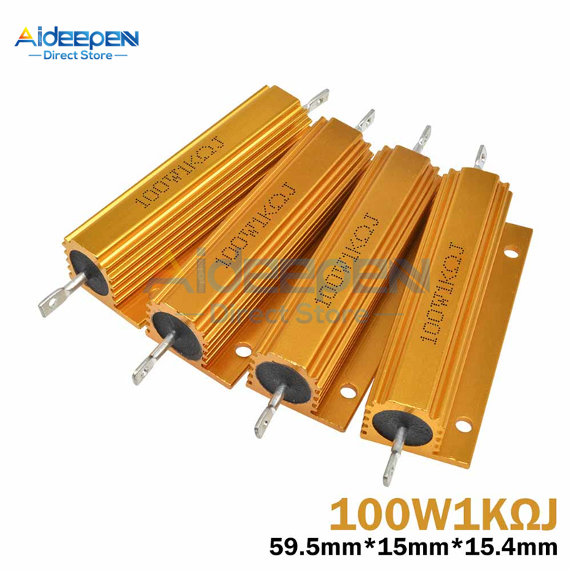 100W/50W Aluminum Power Metal Shell Case Wirewound Resistor 0.1-1K 0.1 0.5 1 1.5 2 3 4 5 6 8 10 12 15 20 22 30 33 50 100 1K ohm image