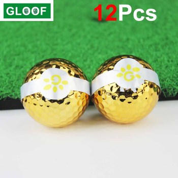 12Pcs/Lot Golf Ribbon Ball Special for Opening Ceremony Gift Gold Plated Ball Gold Course Kickoff image