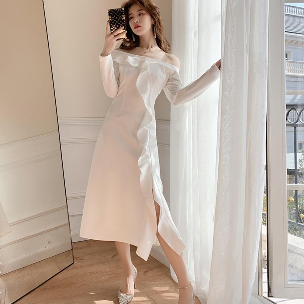 Werynica WL D0101 2020 New Spring Round Neck Long Sleeve Solid Black Chiffon Dot Loose Big Size Dress Women Fashion Tide - 5