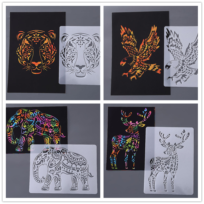 21*29cm 11PC DIY Scratch Painting Template Set 5 Templates 5 DIY papers 1 scraping pen make your unique cards Kids Drawing Toys