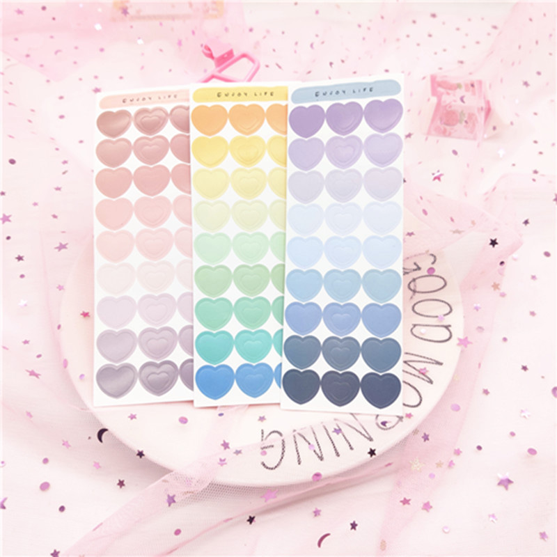 2 Sheets Cute Gradient Love Heart Stickers Ins Scrapbooking Decorative Stickers For Kids Diary DIY Label Stationery Stickers