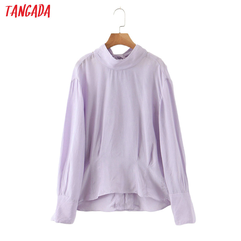 Tangada Women Backless Bow Purple Shirts Long Sleeve Solid Elegant Office Ladies Work Wear Blouses QB106