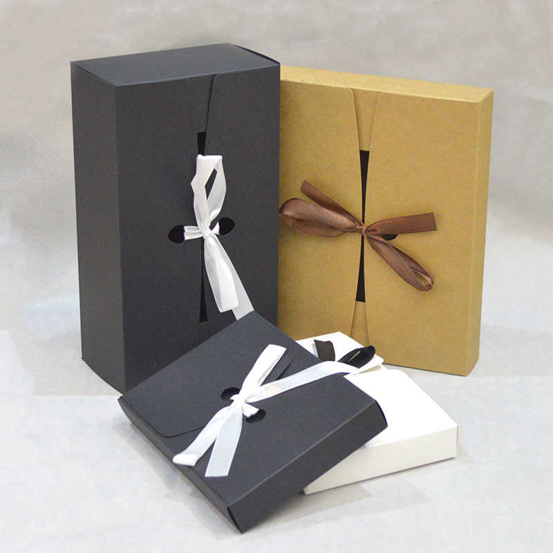 10pcs Paper Giftboxes Wedding With Ribbon Kraft Packing Box For Cookie Black White Kraft Box For Packaging Candy Gift Box