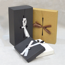 10pcs Paper Giftboxes Wedding With Ribbon Kraft Packing Box For Cookie Black White Packaging Candy Gift