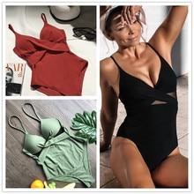 цена 2020 Sexy One Piece Swimsuit Hollow Out Swimwear Women Monokini Solid Bodysuit Bandage Brazilian Vintage Bathing Suit Beach Wear онлайн в 2017 году