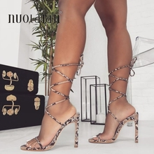 2020 Fashion Women High Heels Sandals Summer Outside Snake Print Shoes