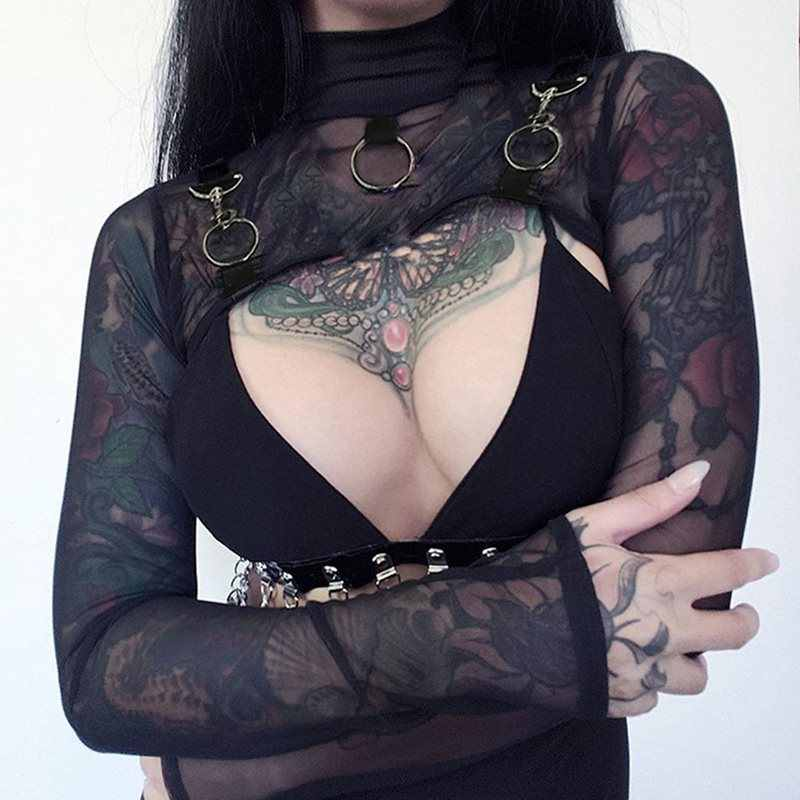 Gothic Harajuku Black Women Ring Decor Mesh Hollow Short Tops Sexy Pullover Punk Rock Kpop Female Autumn Streetwear