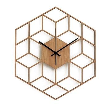 Modern Geometric Wall Clock Wood Clock Watch Living Room Bedroom Office Decorative Clock Watch