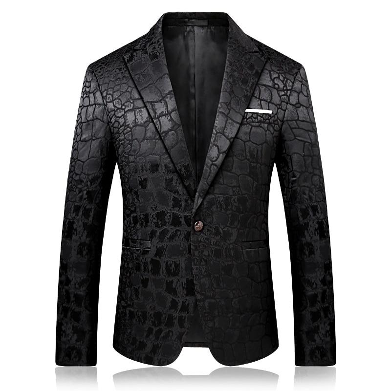 Mens Slim Fit Blazer Jacket Leopard print One Button Nightclub Party Long Sleeve