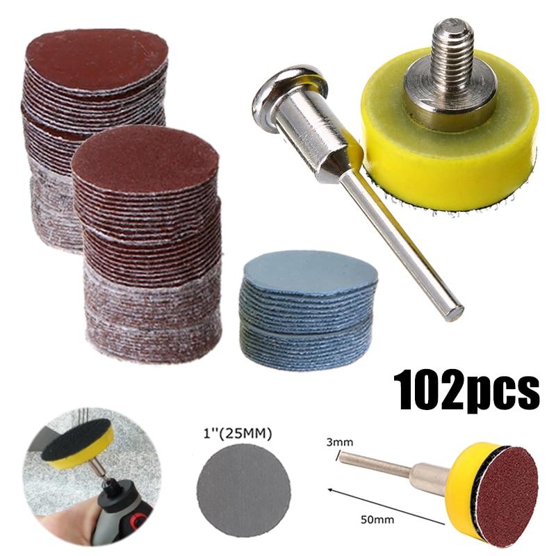 100pcs/set 25mm 80 80 600 1000 2000 3000 Grit Sanding Disc Round Abrasive Dry Sandpaper + Back-up Pad For Polishing Tools