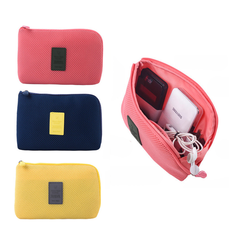 1PCS Charger Headphones Portable Travel Receive A Case For Cable Mesh Sponge Wearing Cosmetics Receive Bag Bag Of Mobile Power