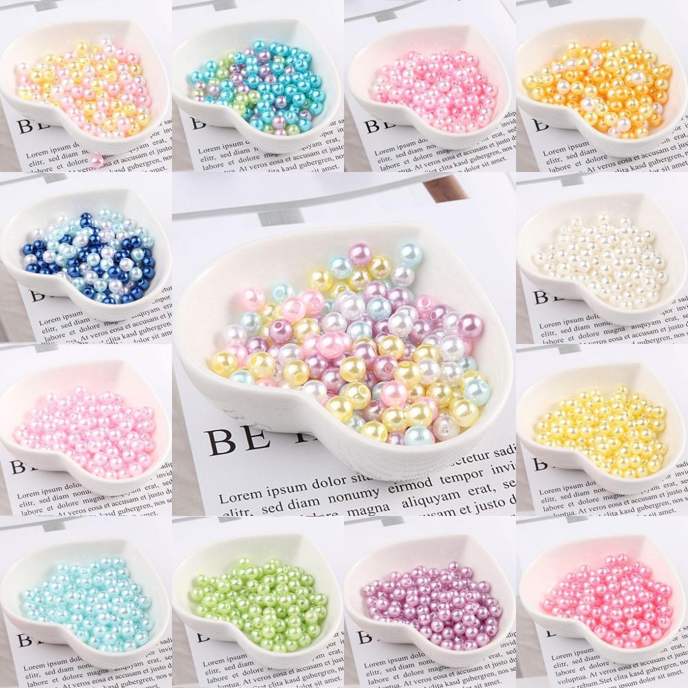 Imitation de perle ronde 3mm 4mm 5mm 8mm 23 couleurs | Avec trous pour le bricolage, collier dart, accessoires pour la fabrication de bijoux de mode