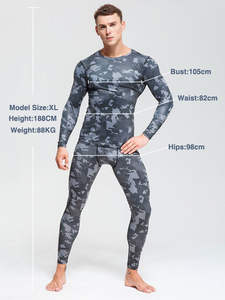 Thermal-Underwear-Set Long-Sleeve-Shirts Base-Layer Sports-Compression Winter Camouflage