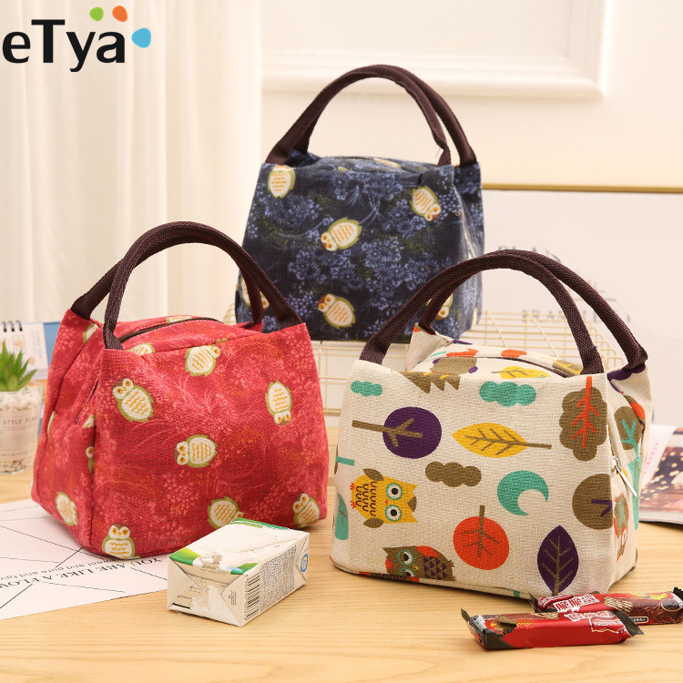 ETya Cute Women Ladies Girls Kids Insulated Lunch Bag Box  Picnic Food Thermal Lunch Cooler Tote  Animal Printing Handbag Pouch
