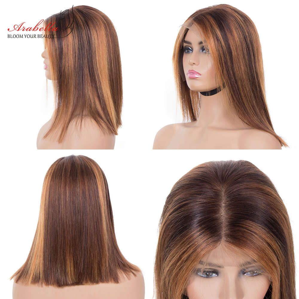 Highlight Bob Ombre Brown Honey Blonde Lace Front Wig  Hair PrePlucked Bob Wig 100%  Arabella Straight Closure Wig 5