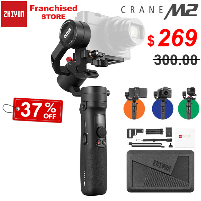 Zhiyun Crane M2 3 Axis Handheld Gimbal Stabilizer for Sony A6500 A6300 Canon M6 Mirrorless Camera & Action Camera & Smartphone