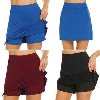 Falda de mujer activa Skorts de secado rápido falda femenina para correr tenis chica con pantalones cortos de entrenamiento de Golf ligero interior