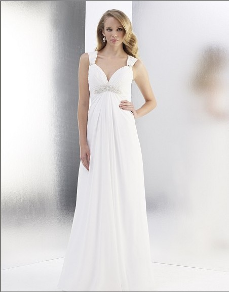 Free Shipping Chiffon A-line Sweetheart Beaded Empire Waist Cap Sleeve Delicately Grace Deep V-back Zipper Closure Wedding Dress