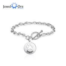 JewelOra braccialetti personalizzati con ciondolo a forma di zampa per animali domestici per donna personalizza il nome bracciale a maglie incise regali di natale per la madre