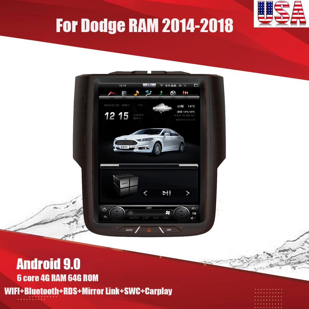 Android 9.0 Tesla Style Player GPS Navigation Stereo For Dodge RAM 2014-2015-16-2017-2018 Radio Wifi Head Unit Multimedia Player