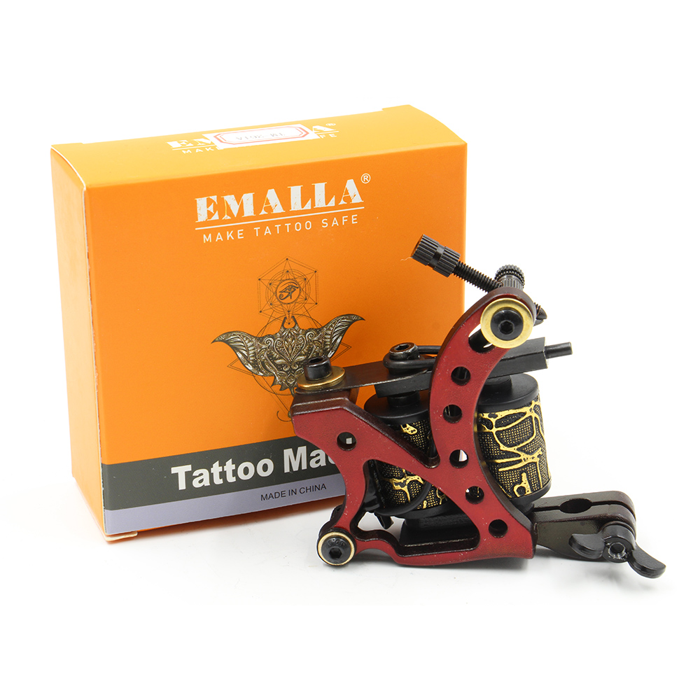 New Arrival Coil Tattoo Machine 8 Wrap Coils Tatoo Gun Red Steel Tattoo Frame For Liner Shader Equipment Supply Free Shipping