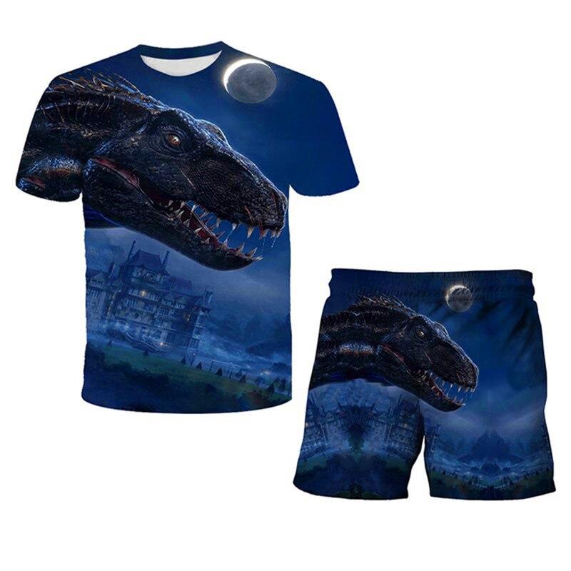 4-14 Years Children Kids T-shirt Boys Girls Print Dinosaur 3D T Shirt Girls Tops Cartoon Baby Clothes New Arrive 2021 Tees Set
