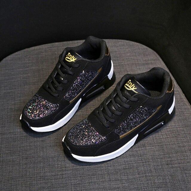 Zapatos de lentejuelas con diseño de moda para mujer, zapatos para correr con colchón de aire, zapatillas de ocio al aire libre, novedad de 2109 2