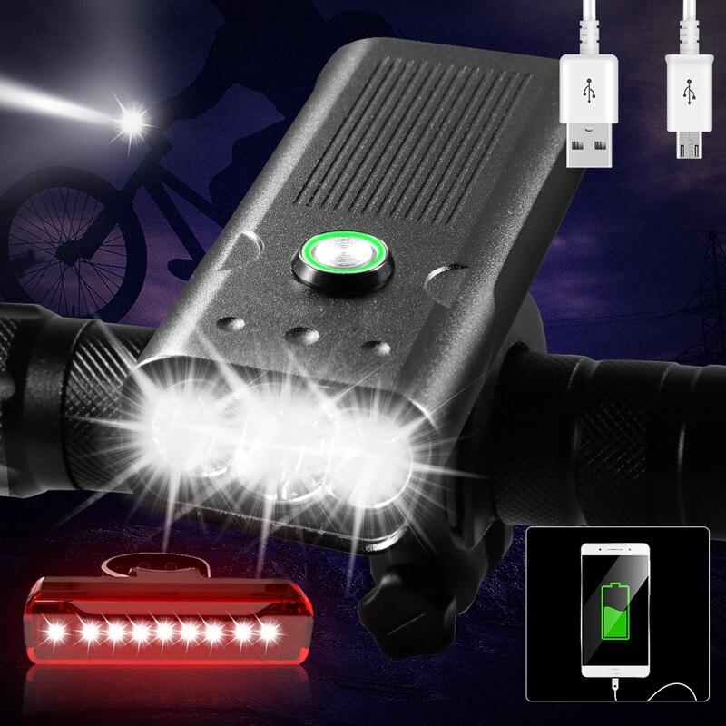USB Rechargeable Bike-Light Power-Bank 20000lums Waterproof L2/T6 as Ce Bike-Accessories
