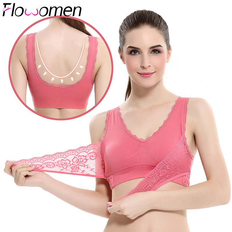 S-4XL Women Underwear Sexy Lingerie Lace Sports Bra Breathable Solid Color Push Up Comfortable Cross Side Front Buckle Big Size(China)
