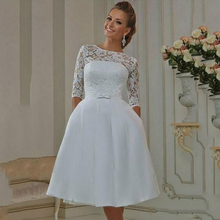 Eightale Short Wedding Dresses with Half Sleeves A-Line Lace Satin Lace Up Back Cute Wedding Gowns Custom Made Bride Dress navy lace hollow out short sleeves mini dresses with lace up design