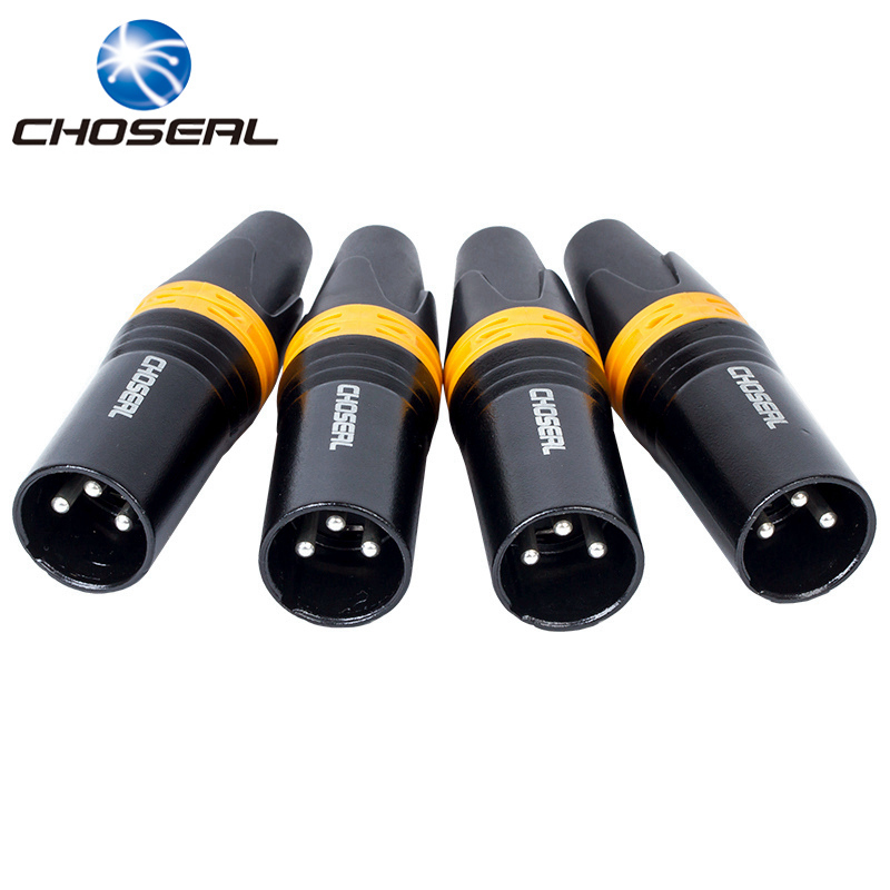 Choseal QD2003B XLR Male 3 Pin Audio Microphone Cable Connector 4Pcs DIY Solder Type Metal Material Audio Signal Plug