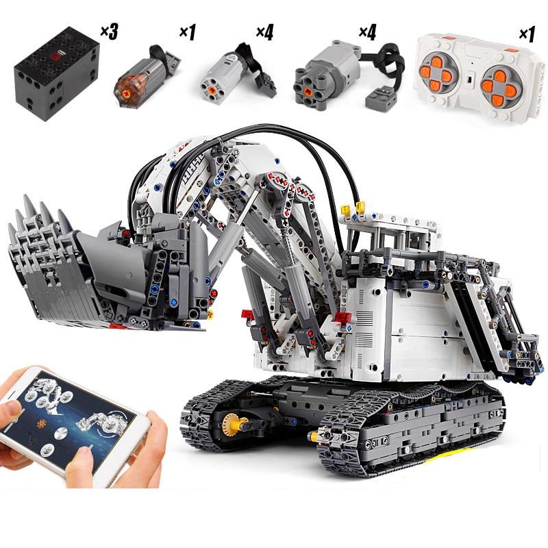 DHL Technic Car Toys Lepining 42100 Liebherrs R 9800 Excavator Motor Crane Kids Christmas Toys Building Blocks Bricks