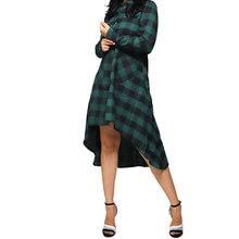 Camicie irregolari con risvolto Casual da donna 2021 camicette primaverili moda Plaid Check top donna maniche lunghe Blusa oversize 2XL