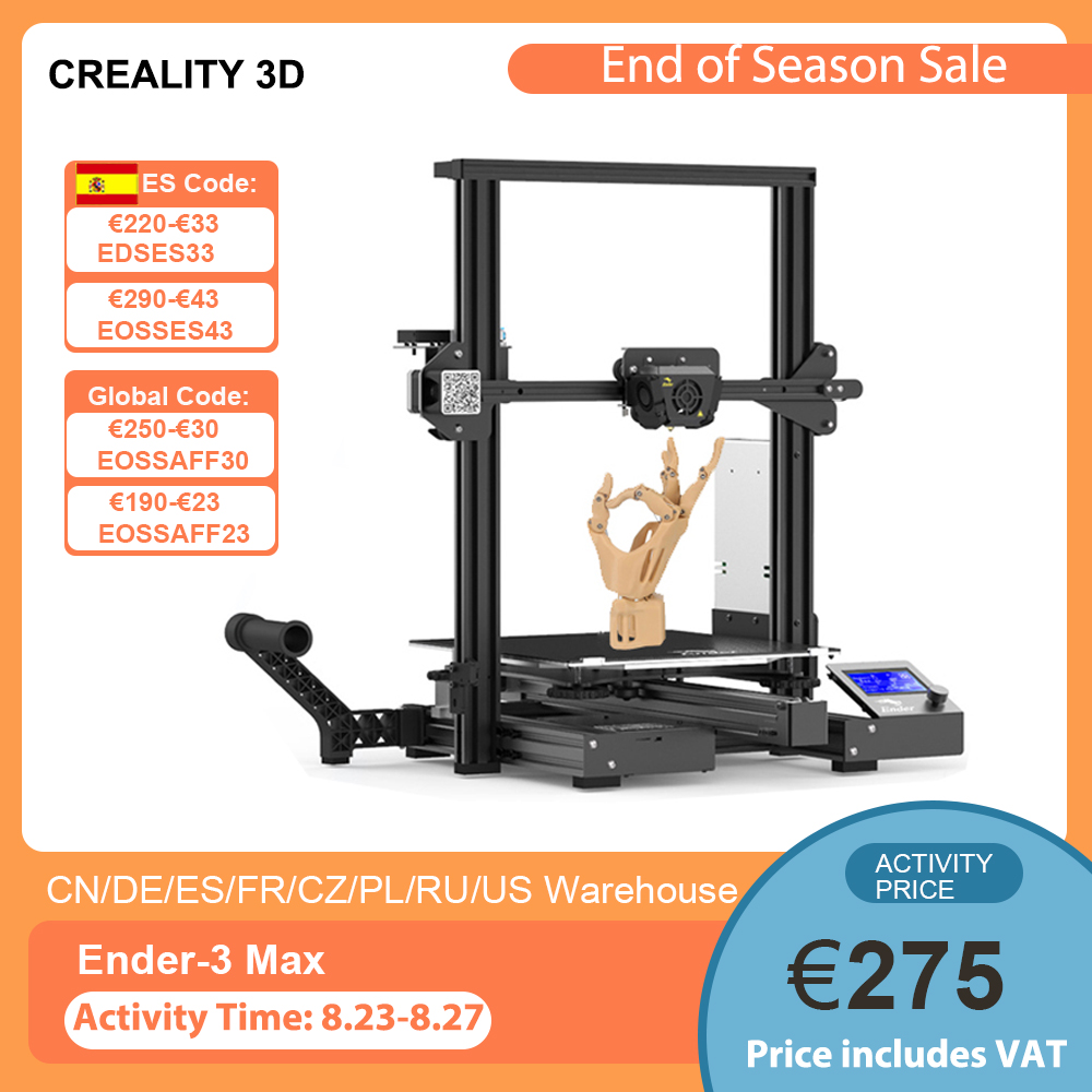 Creality Ender 3 Max 300*300*340mm Large Build Volume High Precision 3D Printer Kit Integrated Structure Support Silent Printing 3D Printers  - AliExpress