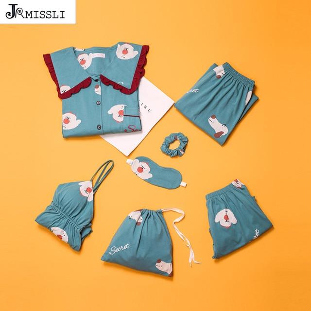 JRMISSLI 100% Cotton Wear Women Pajamas Set Loose Clothing Solid Sleepwear Autumn Plus Size 7 Piece Pajamas sets