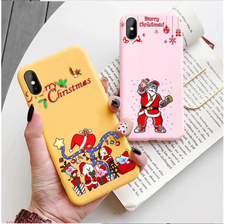 Eğlenceli yaratıcı Santa şapka şeker renk TPU kılıf telefonu iphone x için 7 XS XR XSMA NCT127 kore şarkıcı noel kapak