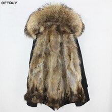 Oftbuy à prova dwaterproof água parka casaco de pele real jaqueta de inverno feminino gola de pele de guaxinim natural forro de pele de raposa quente grosso streetwear outwear