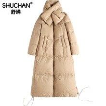 Shuchan Womens Down Jackets White Duck Thick Warm Women Coats Woman Parka Scarf