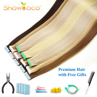 ShowCoco Walker Blue Tape in Human Hair Extensions Virgin Remy Hair 10A Salon Quality Tape Hair Extensions 20pcs 80pcs