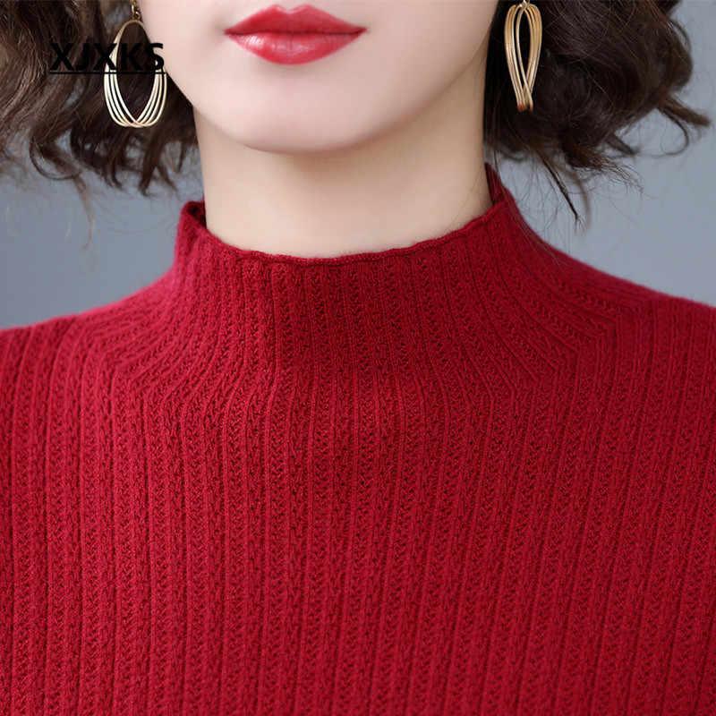 XJXKS ผู้หญิงเสื้อกันหนาวยาว 2019 ฤดูหนาวใหม่แฟชั่นเย็บลูกไม้สบายแคชเมียร์ถักเสื้อผู้หญิง pullover