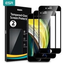 ESR-Protector de pantalla de vidrio templado para iPhone SE 2020, Protector de pantalla de vidrio templado para Apple iPhone SE 8 7 6s, 2 uds.