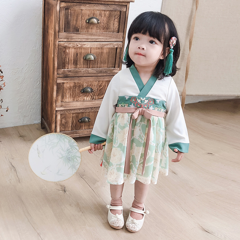 Autumn New Style 2019 Children Chinese Clothing Confucianism Skirt Girls Ancient Costume Chiffon Embroidery Dress Female Baby Co