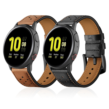 Leather Watchband for Samsung Active 2 Strap Band for Galaxy Watch 46mm 42mm / Gear Sport / S3 Replaceable Accessories Correa