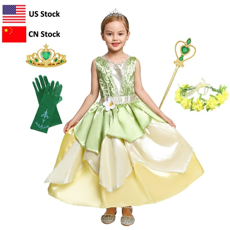 Карнавальные Платья Tiana для девочек, вечерние платья принцесс для ролевых игр, детское платье без рукавов, платье принцессы и лягушки
