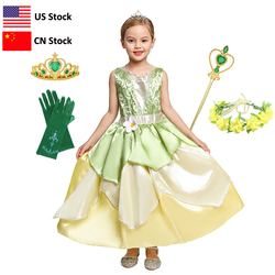 Carnaval tiana fantasiar-se vestidos menina princesa role playing festa traje crianças sem mangas vestido a princesa e o sapo
