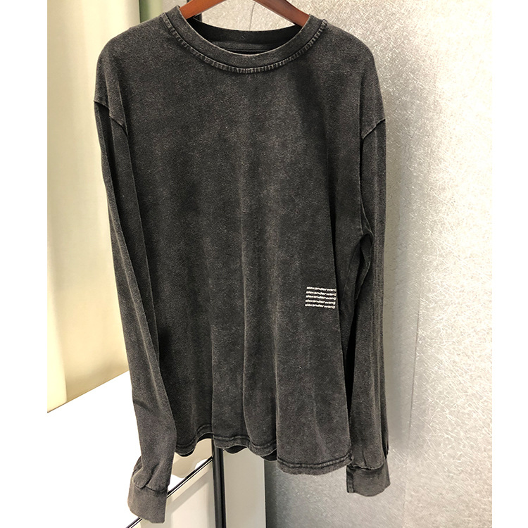 2019 New Long Sleeve Fashion Wash Water Old Letter Printing Thin Vest Shirt Women O-Neck Clothing
