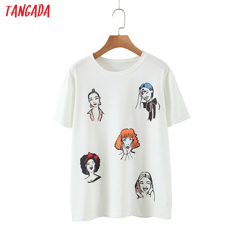 Women Oversized Character Print White T Shirt Short Sleeve 2020 Summer Tees Ladies Casual Top 3Z85