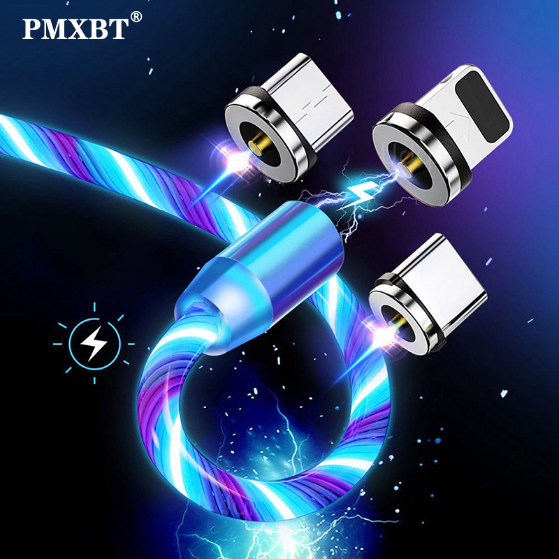 2m Magnetic Charging Mobile Phone Cable USB Type C Flow Luminous Lighting Data Wire for Samsung Huawei xiaomi LED Micro Kable(China)